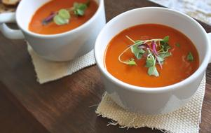 Tomato Soup in white bowls, Healthy food