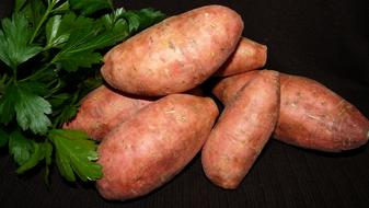 sweet potatoes and parsley on the table