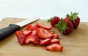 Fruit Strawberries Food red knife