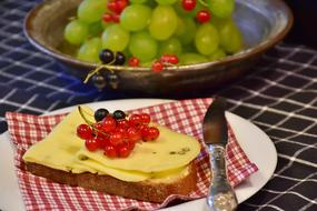 Cheese Bread grapes currants