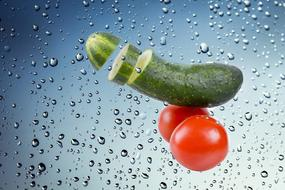 Cucumber Tomato water drops