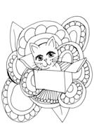 cute cat coloring page design drawing