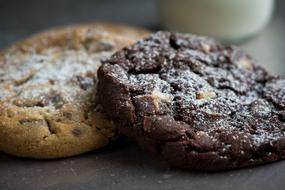Two Chocolate Cookies with Nuts, macro