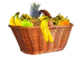 fresh tropical Fruits in big weaved Basket