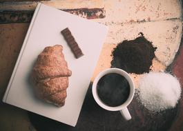 Croissant and Coffee and Chocolate
