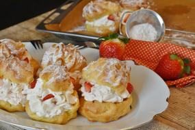 Cream Puff and Strawberries