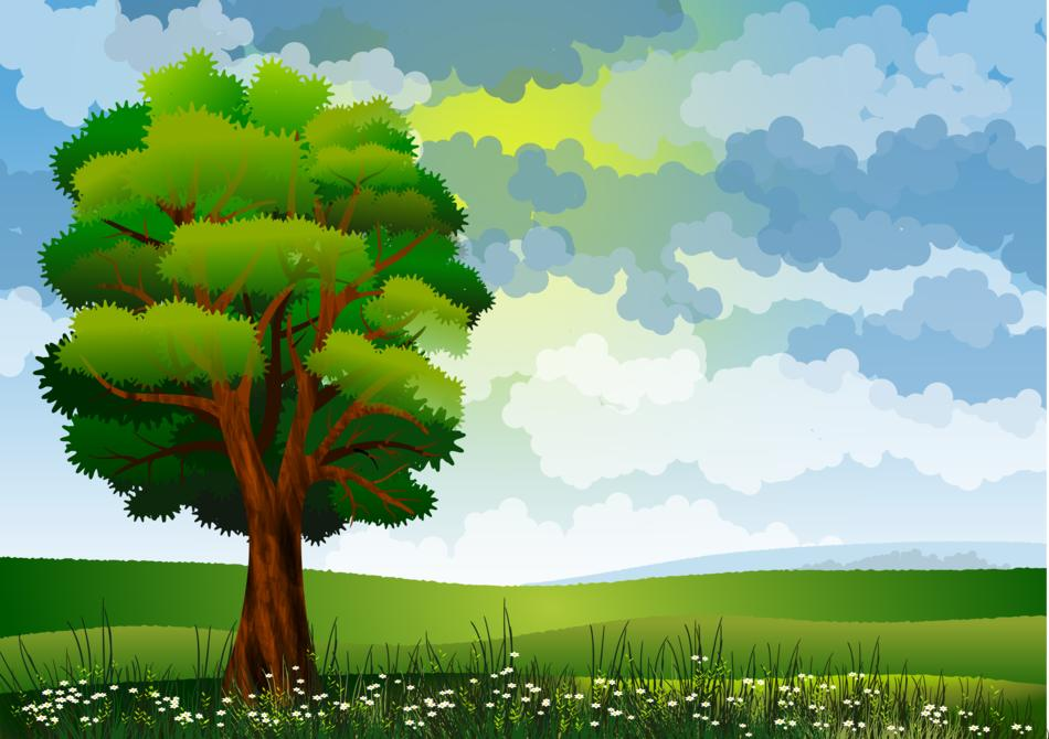 painted green tree in a meadow against a cloudy sky