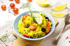vegetarian paella with saffron in Spain