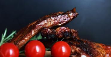 Grill Meat Ribs and tomato
