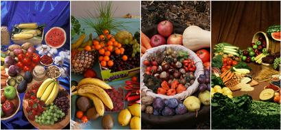 fresh fruits and vegetables, collage, healthy food
