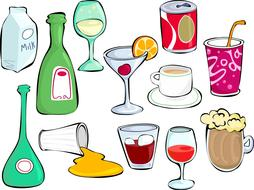 different drinks in glassware and package, drawing