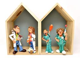 Veterinarians with Animals and nurses, funny toys in boxes