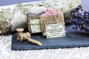 natural soap, threads and lavender