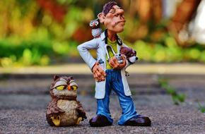 figures of a veterinarian and animals