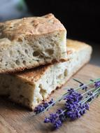 homemade bread and lavender branch