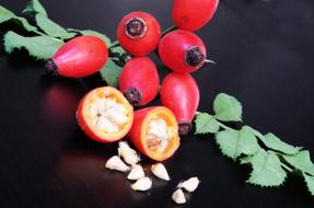 rosehip berries and rosehip seeds on the table