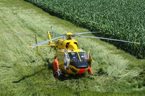 yellow Helicopter Rescue green grass