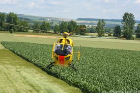 Rescue Helicopter landing near field in countryside