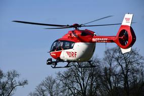 photo of a red rescue helicopter