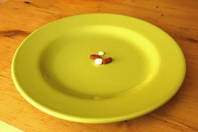Pills red white Plate yellow