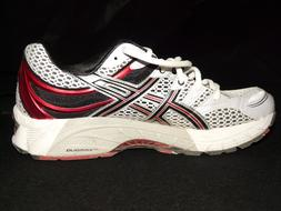 Beautiful, red, black and gray Asics sneaker, at black background