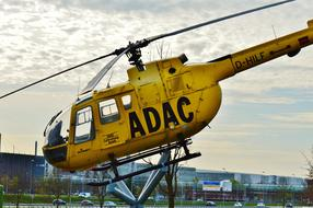 ADAS yellow rescue helicopter in Munich