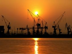silhouettes of port cranes at dusk