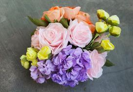 colorful paper Flowers, bouquet