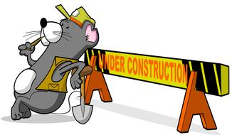 under construction sign with cartoon animal