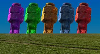 colored bolts on a green field