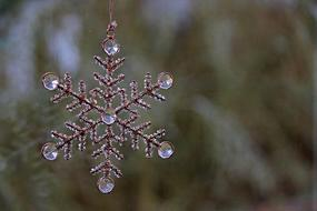snowflake with crystals, Handmade Decoration