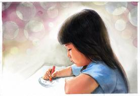 painted asian girl draws in wax crayon