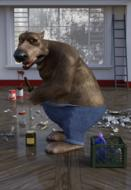 anthropomorphic bear, janitor in messy room, render