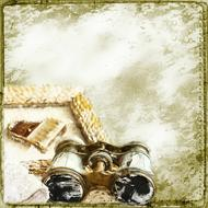 steampunk style background with binoculars