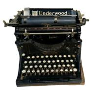 vintage Underwood typewriter on a white background