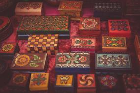 Colorful wooden boxes