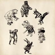 set of anthropomorphic animals, drawing