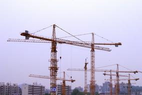 scene with construction cranes