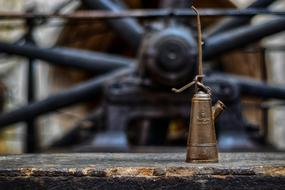 oil canister on the background of an abandoned factory