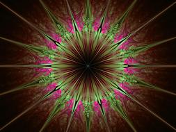 green and red star at darkness, fractal