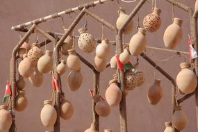 hanging pottery on the tree