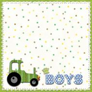 boys, square template with green tractor