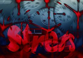 stress word cracks red drawing