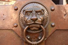 vintage Brass Doorknocker, Lion Head