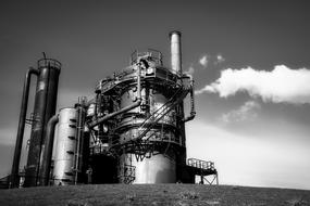 Black and white photo of the Gas Works Park Industry under sky with clouds in Seattle, Washington