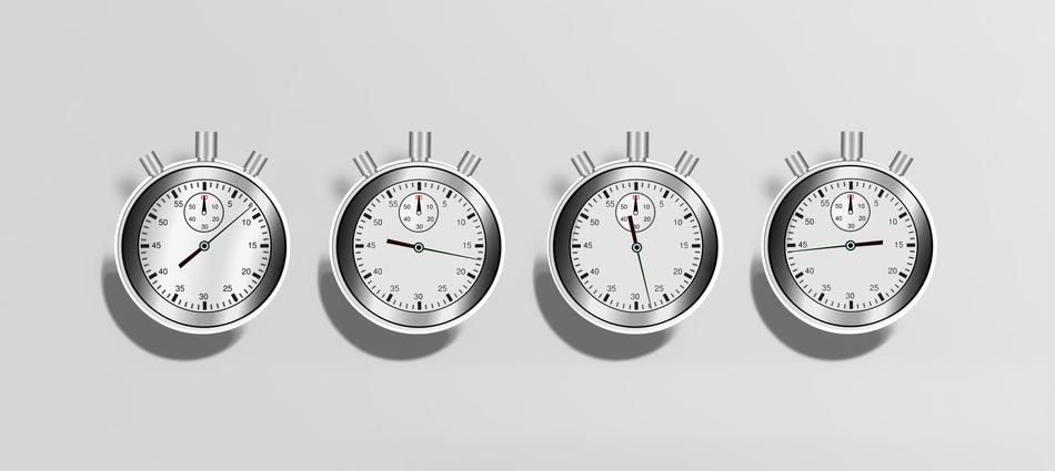 photo of clocks on a wall to represent SEO timelines