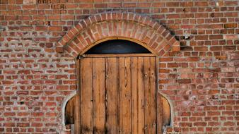 Door Wooden Brick wall