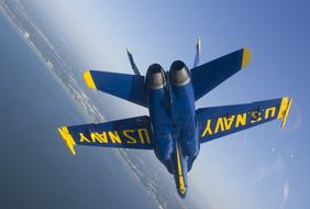 Blue yellow Angels Aircraft sky