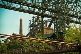 steel constructions of old factory, germany, ruhr