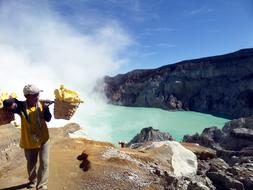 crater fog Indonesia people